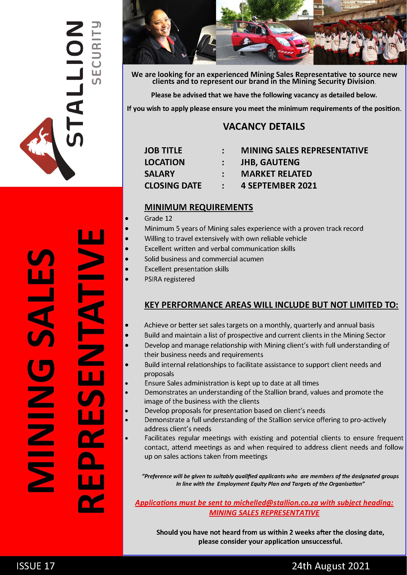 Mining Sales Representative