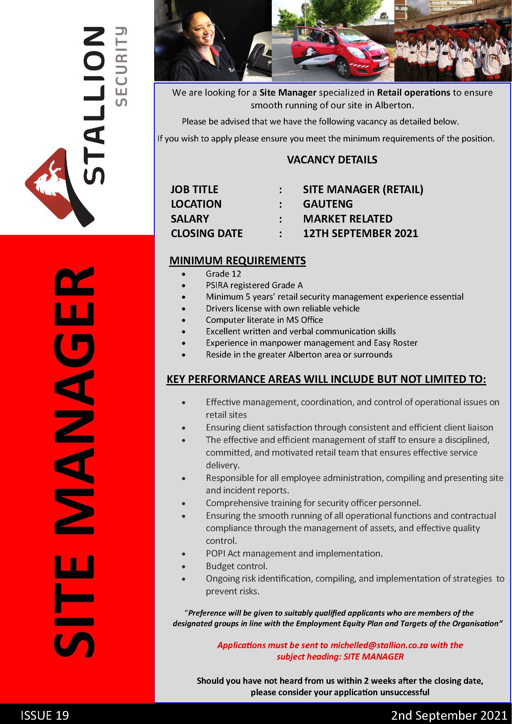 Site Manager Alberton